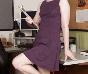 Mature office worker Annabelle Lee revealing hairy cunt after panty removal