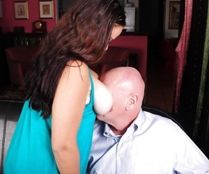 Brunette mature Heather has her fatty big tits teased and pussy fucked
