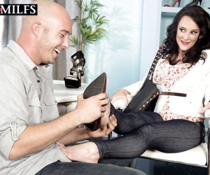 Older brunette Lexi Ambrose baring big tits before fucking large dick
