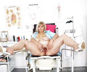 Overweight mature nurse with saggy tits using speculum on hairy vagina