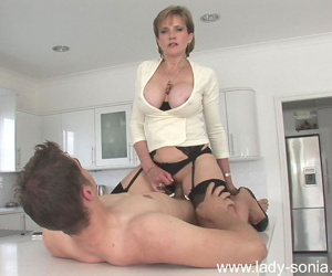 Horny mature vixen in stockings gives a blowjob and gets shafted hard