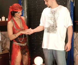 Mature fortune teller Cheyanne Rivers seduces a younger guy as part of the gig