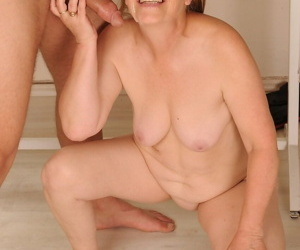Teabagging granny Gabi spreads shaved pussy for her young studs big dick