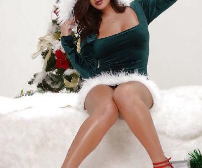 Chesty Elf Keisha Grey flashing big juggs and bald pussy for Christmas