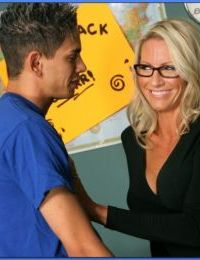 Teacher in glasses Emma Starr stripped to black lingerie and dicked