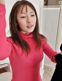Asian teenage Ayaka Oda gets naked and involved into lovemaking playthings play