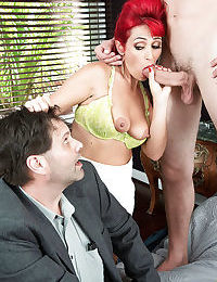 Older redhead Nola Rouge sucking and fucking big dick in front of cuckold