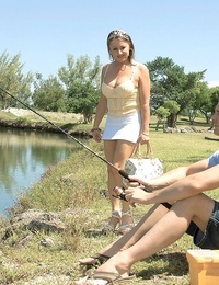 Horny MILF Tyra Enjoy picks up a guy doing some fishing for a firm tart\'s