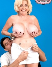 Big frosted granny Missy Thompson gets her cock hungry cunt creampied
