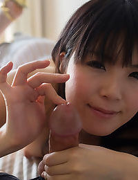 Tiny teen Japanese girl in tights giving a messy POV handjob & licking cum
