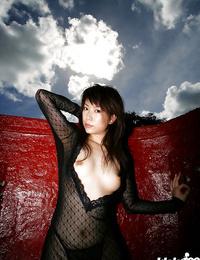 Slim asian honey Kurumi Morishita disrobing and taking bathtub