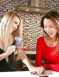 Asian teen Alina Li and young blonde Carmen Callaway scissor twats in kitchen