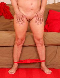 57 yr old lena in luxurious crimson underwear sans bra her gams - part 1696