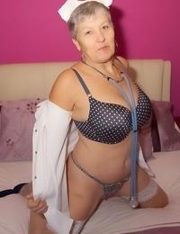 Mature nurse Savana undresses her uniform and lingerie in white stockings