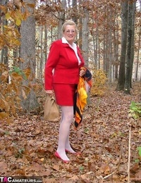Horny granny Adonna removes her subjugation and fucktoys herself in the woods
