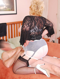 Overweight granny Fanny cleans a mans cock with her undies after a blowjob
