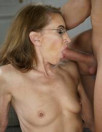 Thin granny Viol sheds denim for fellow playthings tongue- big cock & jizz soddening