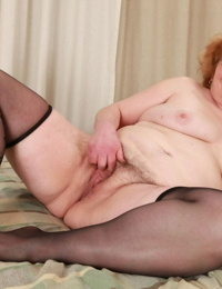 Obese ugly redhead flops on bed for shaft sucking & fat furry beaver fucking