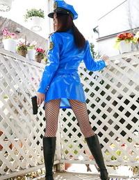 Asian babe in police uniform Misuzu Hiroze revealing her sexy bod