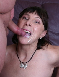 Short & fat granny Margo T. entices boy plaything with rimming & blowjob & munches cum