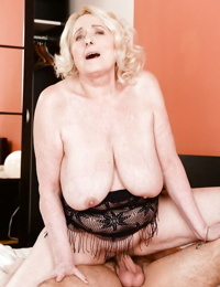 Blonde granny with big saggy tits taking jizz shot from junior stud after brutes