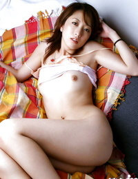 Asian unexperienced Jyuri Kanoh revealing her little breasts and hairy beaver
