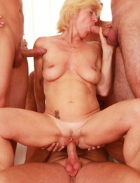 Cool light-haired granny Hanela gets multiple youthful cocks in gangbang tart\'s & facial