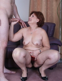 Redhead granny gives a nice rim job before getting her sadism beaver rammed